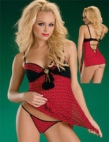 Red Jewelled Babydoll Lingerie Set