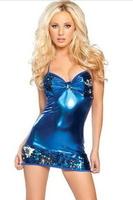 Metalic Blue Sequin Clubwear Mini Dress