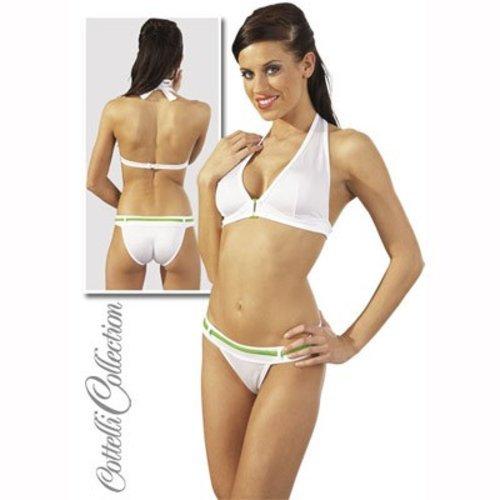 Set bikini alb cu verde M